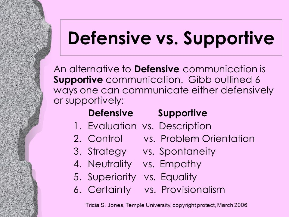 Defensive vs. Supportive