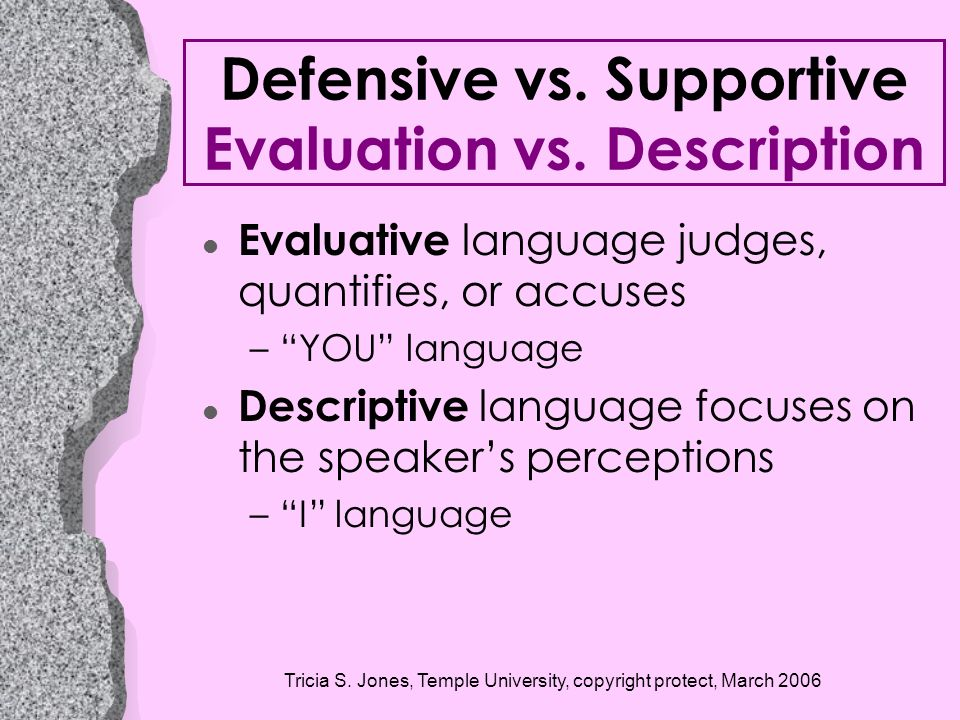 Defensive vs. Supportive Evaluation vs. Description