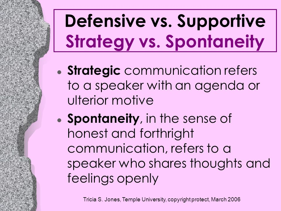 Defensive vs. Supportive Strategy vs. Spontaneity