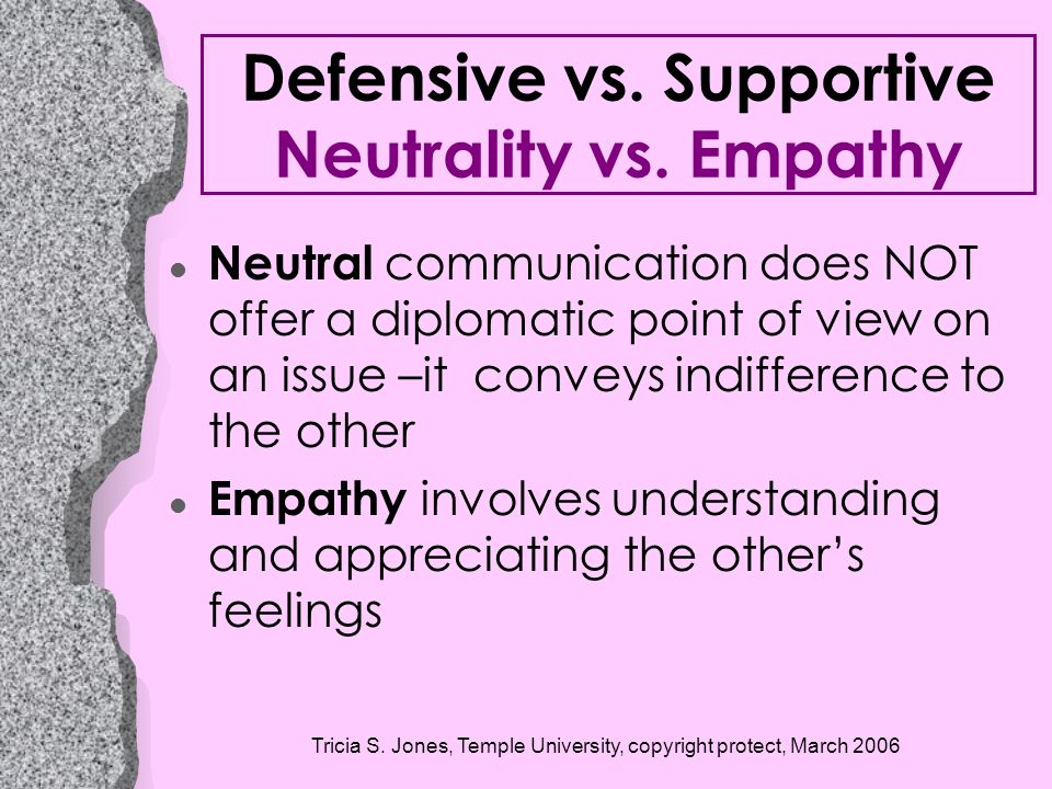 Defensive vs. Supportive Neutrality vs. Empathy