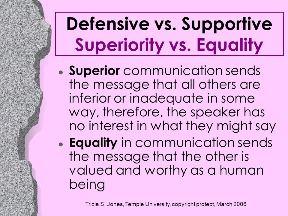 Defensive vs. Supportive Superiority vs. Equality