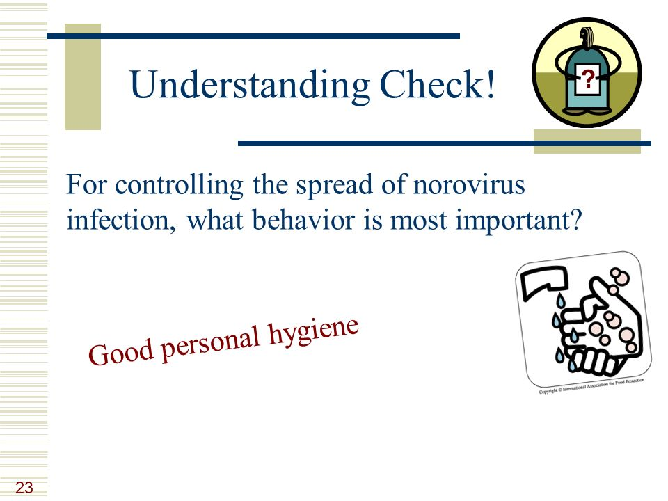 Understand the importance of good personal hygiene in the prevention control of infection