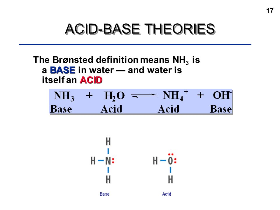 acid base chemistry and water The simplest electropositive component in water is a proton and the negative   acid base reaction can be defined as the reaction in which when equivalent.