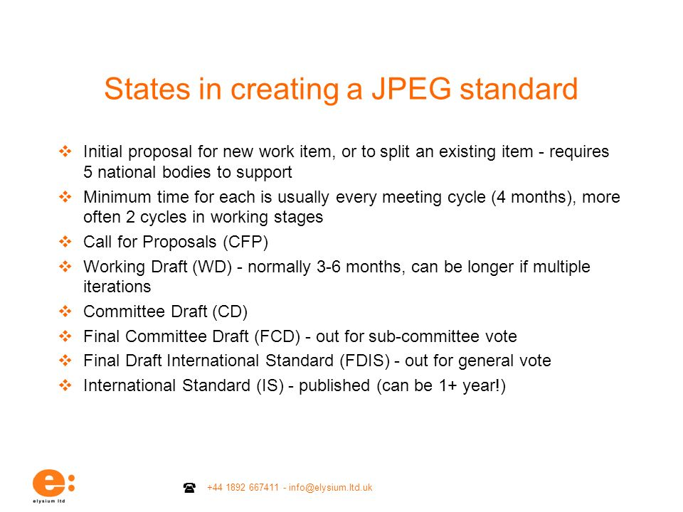 States in creating a JPEG standard