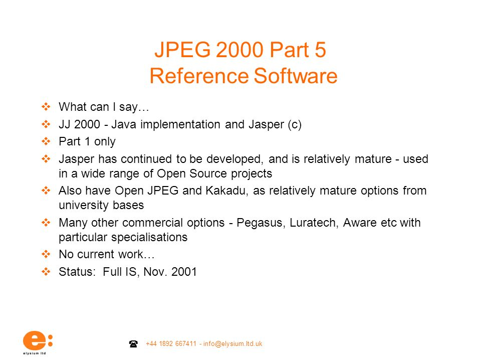 JPEG 2000 Part 5 Reference Software