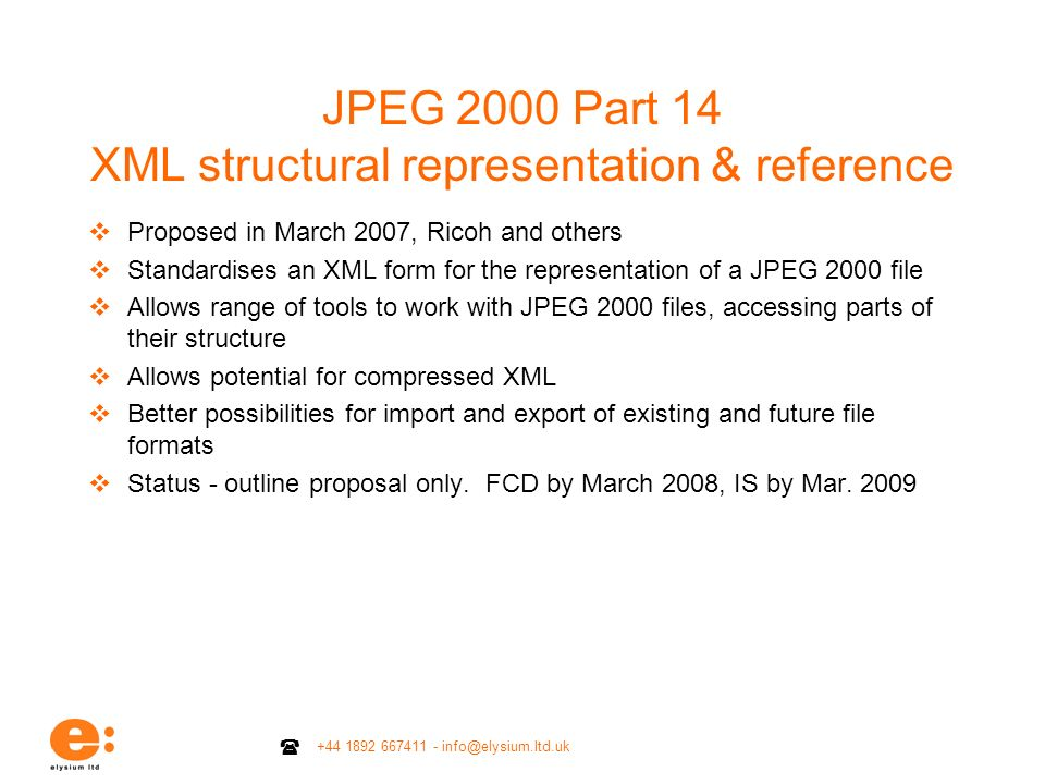 JPEG 2000 Part 14 XML structural representation & reference