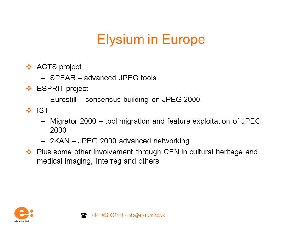 Elysium in Europe ACTS project SPEAR – advanced JPEG tools