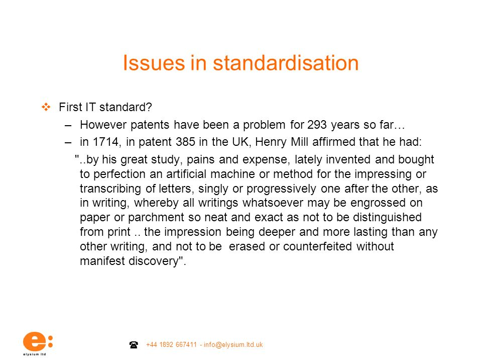 Issues in standardisation