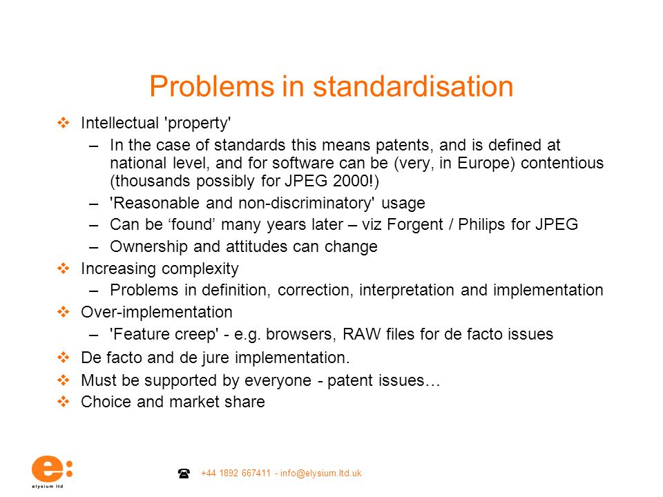 Problems in standardisation