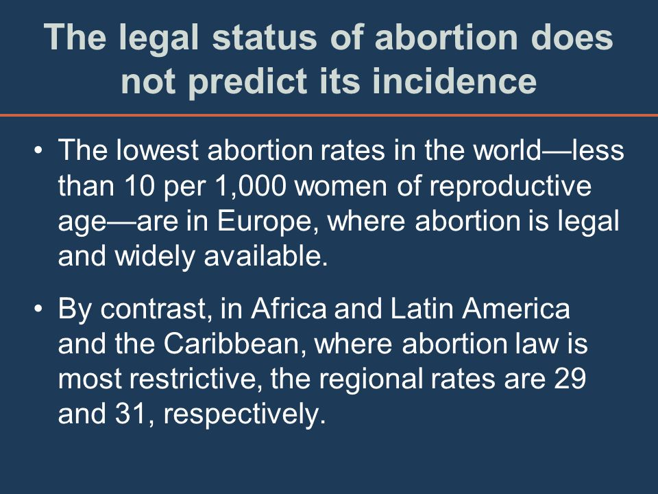 The legal status of abortion does not predict its incidence