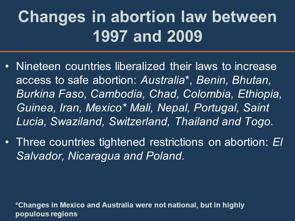 Changes in abortion law between 1997 and 2009