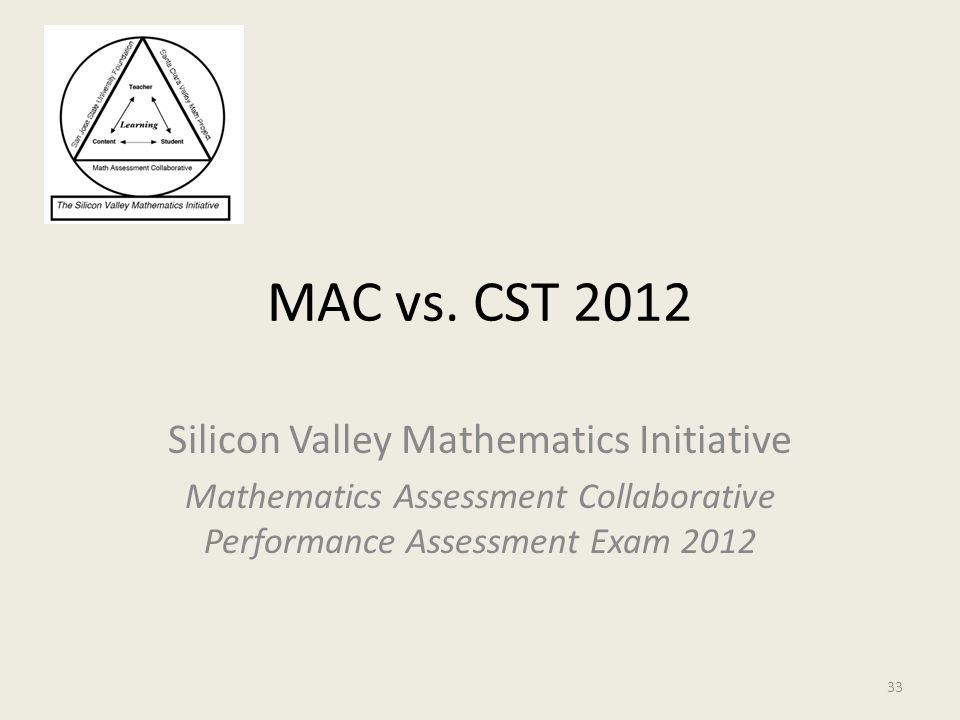 MAC vs. CST 2012 Silicon Valley Mathematics Initiative