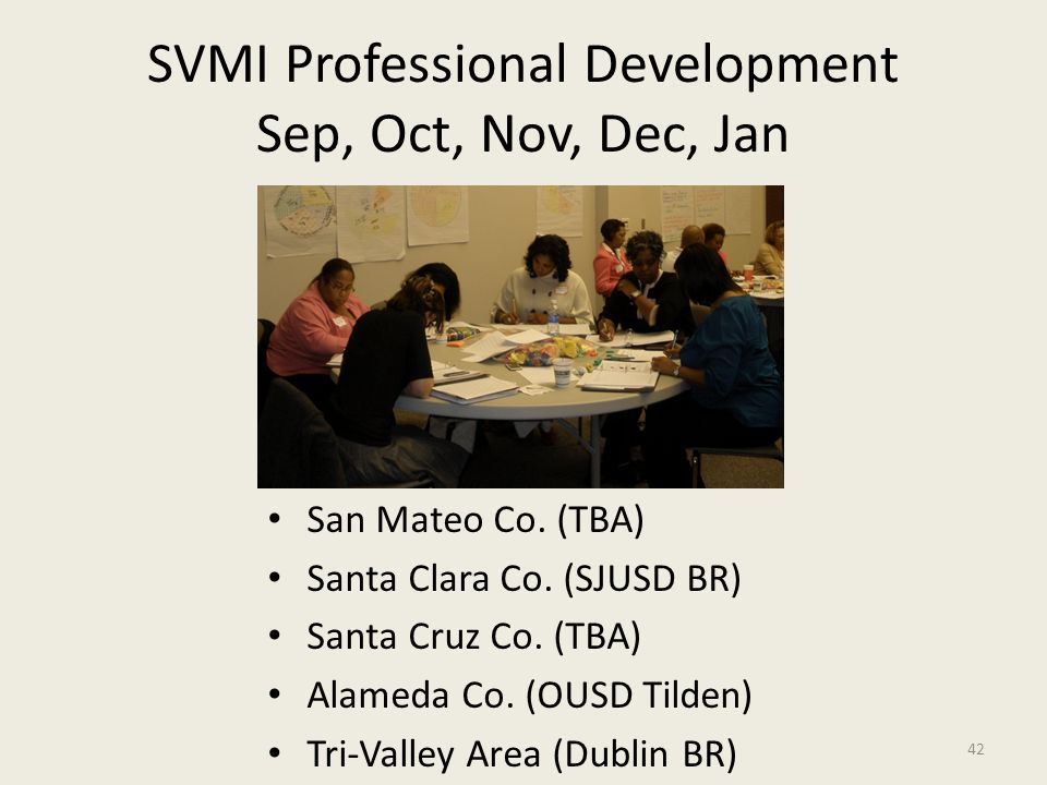 SVMI Professional Development Sep, Oct, Nov, Dec, Jan