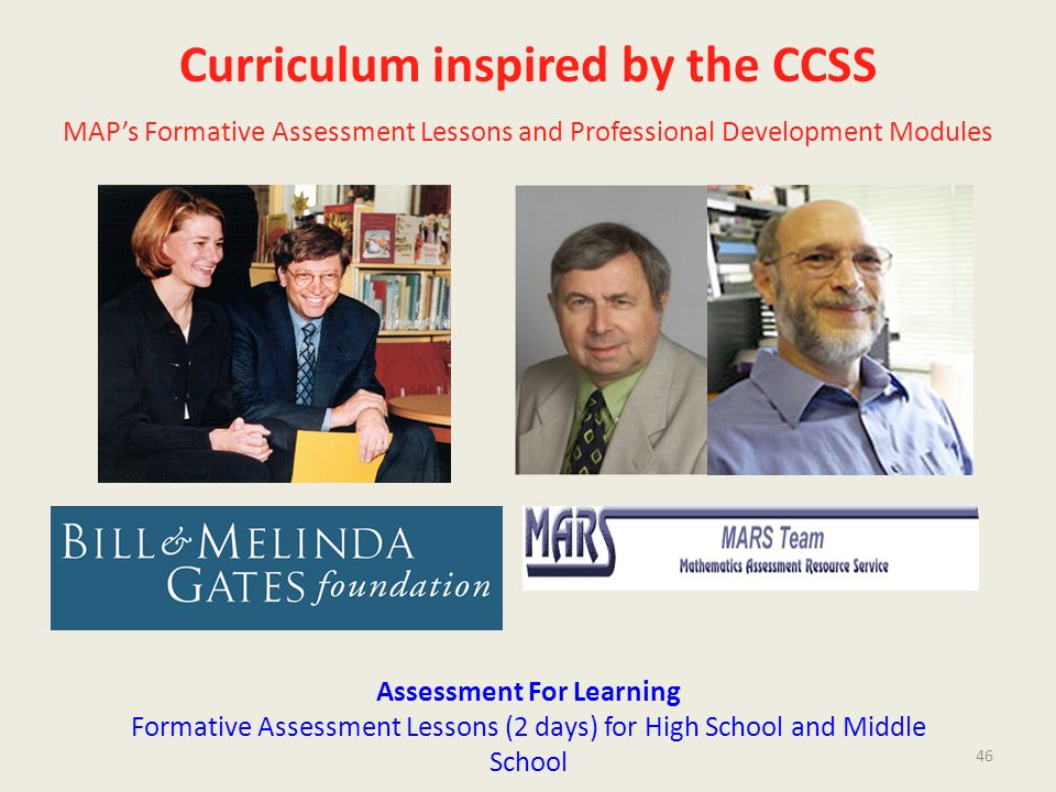 Curriculum inspired by the CCSS Assessment For Learning