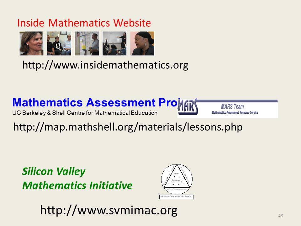 http://www.svmimac.org Inside Mathematics Website