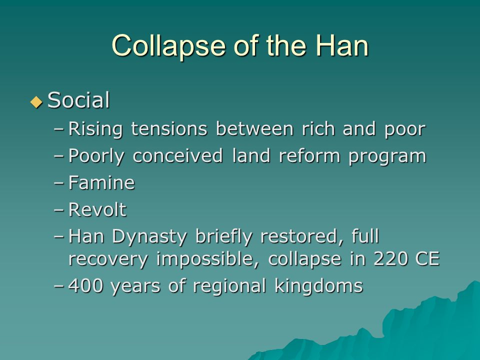 reasons behind the han dynastys and the roman empires fall Which factor contributed to the fall of the han - 496791 invasions by nomadic peoples from central asia is the one unfying factor that contributed to the fall of the han dynasty, the fall of the roman empire, and the fall of the an important reason why franklin roosevelt and.