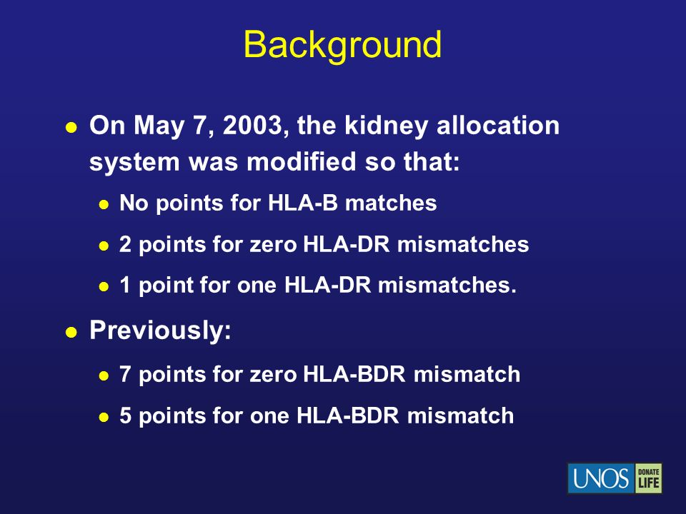 Background On May 7, 2003, the kidney allocation system was modified so that: No points for HLA-B matches.