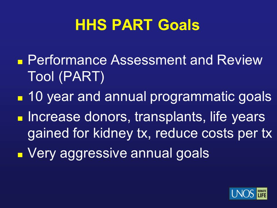 HHS PART Goals Performance Assessment and Review Tool (PART)