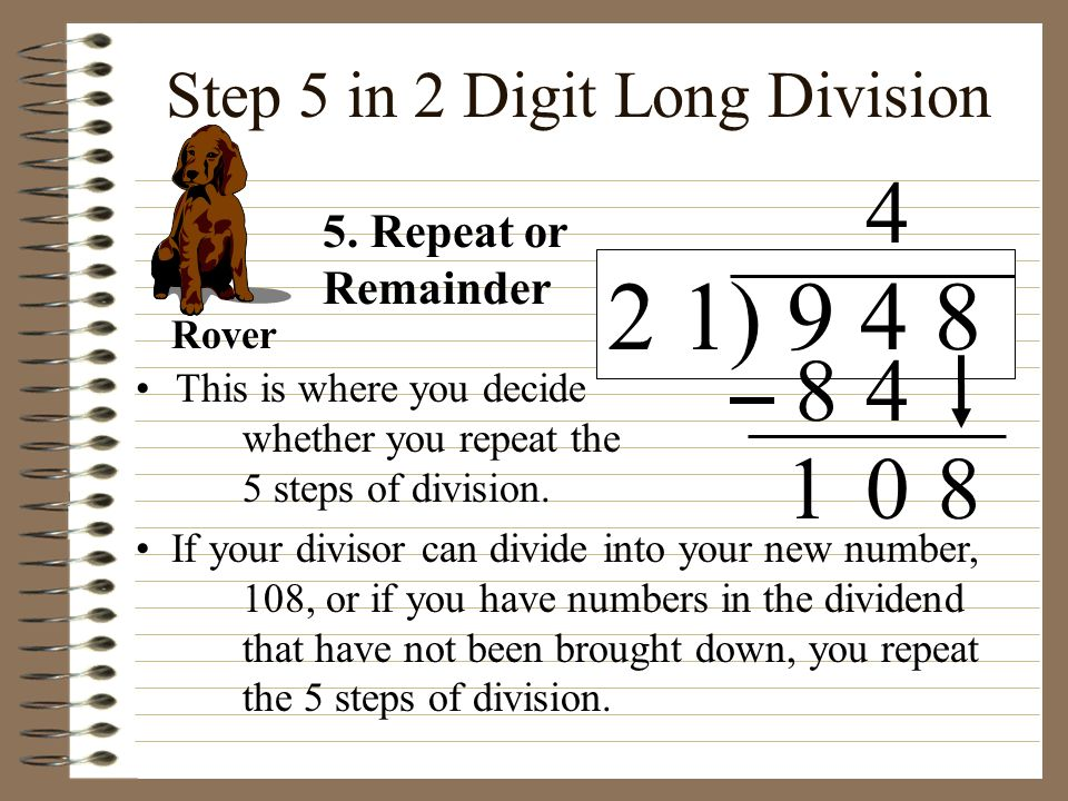 Step 5 in 2 Digit Long Division
