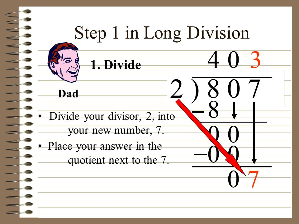 2 ) 8 0 7 4 3 8 7 Step 1 in Long Division 1. Divide Dad