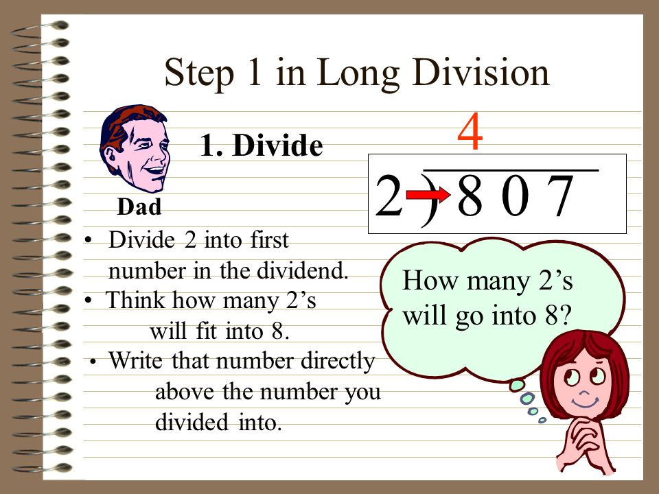 2 ) 8 0 7 4 Step 1 in Long Division 1. Divide