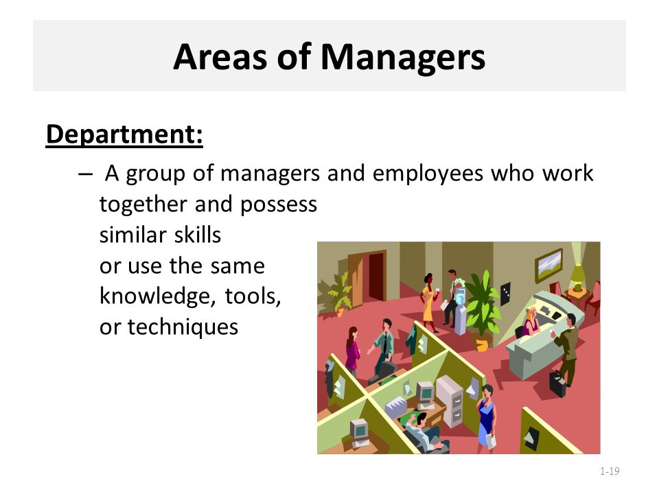 Areas of Managers Department: