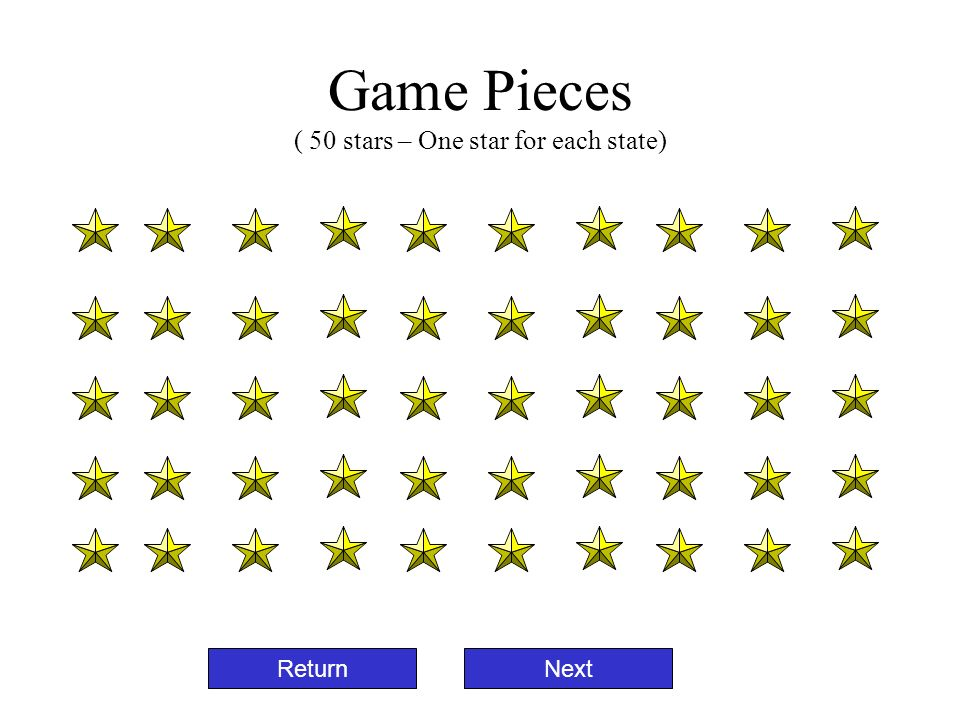 Game Pieces ( 50 stars – One star for each state)