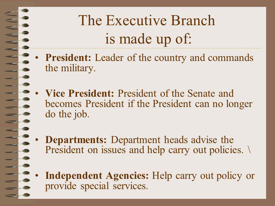 The Executive Branch is made up of: