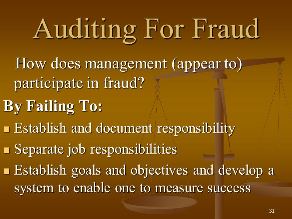 auditors fraud responsibility Fraud prevention and deterrence fraud risk assessment audit committee's responsibilities external auditors about suspected fraud 2016 association of certified fraud examiners, inc 26 of 27 who is responsible.