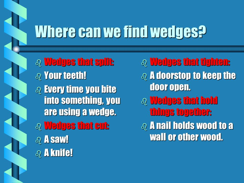 Where can we find wedges