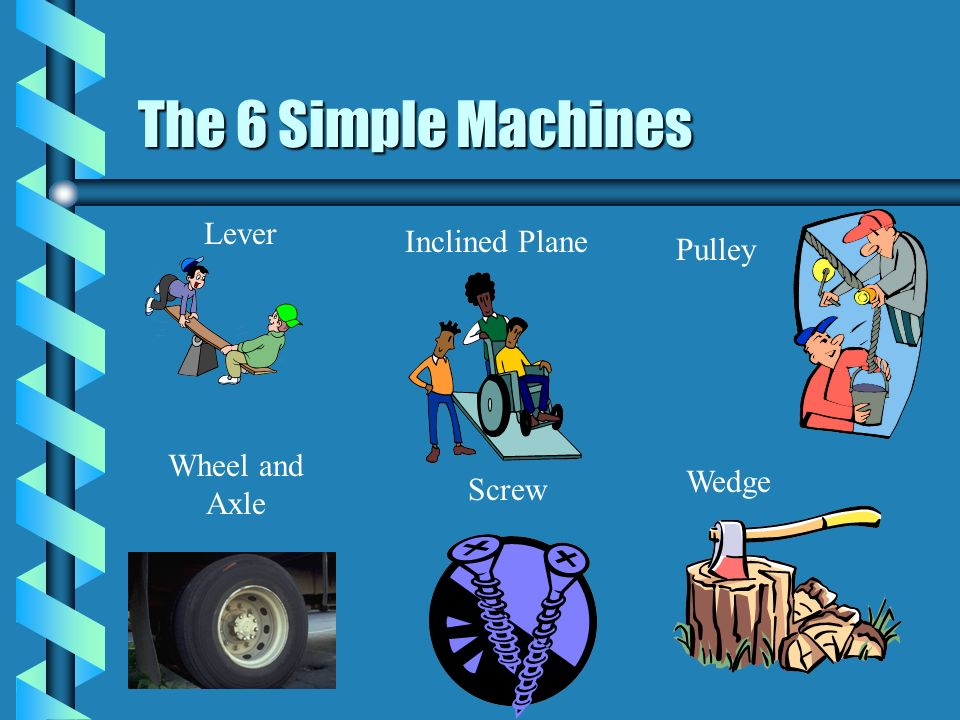 The 6 Simple Machines Lever Inclined Plane Pulley Wheel and Axle Wedge