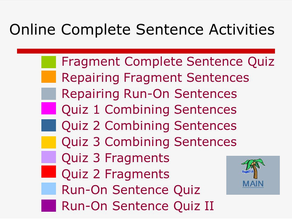 Online Complete Sentence Activities