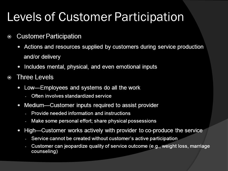 customer participation on service quality How to improve perceived service quality by increasing customer participation pratibha a dabholkar, georgia state university abstract.