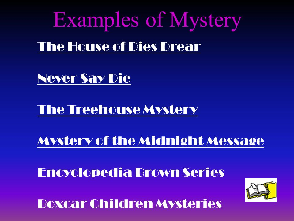 Examples of Mystery The House of Dies Drear Never Say Die