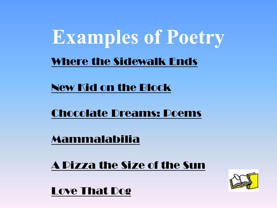 Examples of Poetry Where the Sidewalk Ends New Kid on the Block