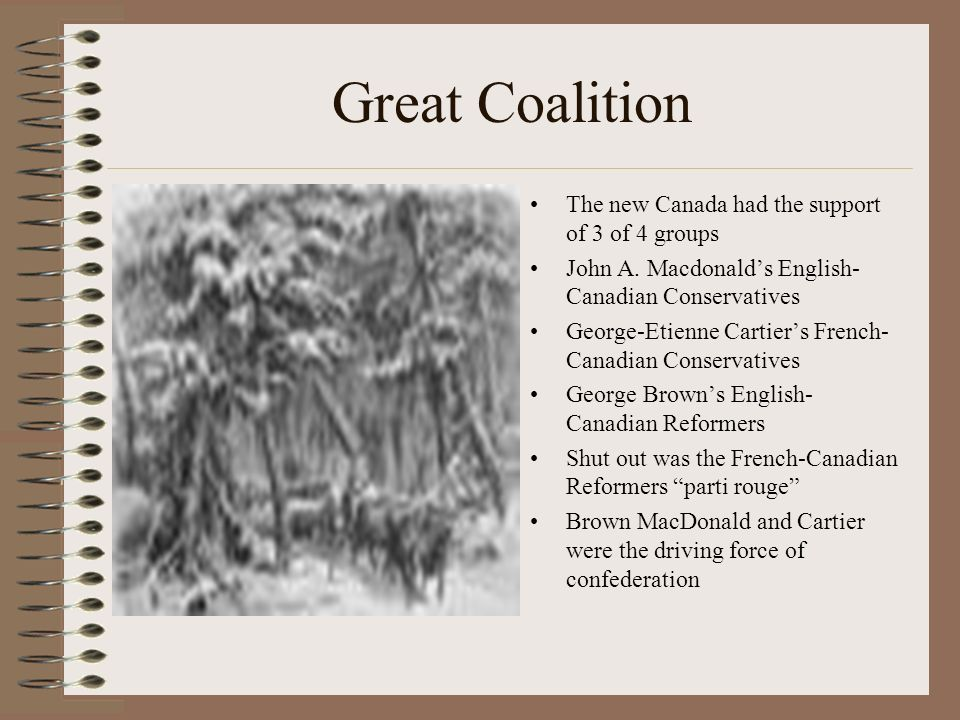 a discussion on the great coalition in canada Love of country is the great want of canada  few seem to remember that  now  the great coalition that achieved confederation could take shape  that  december, for successful discussions with the imperial government.