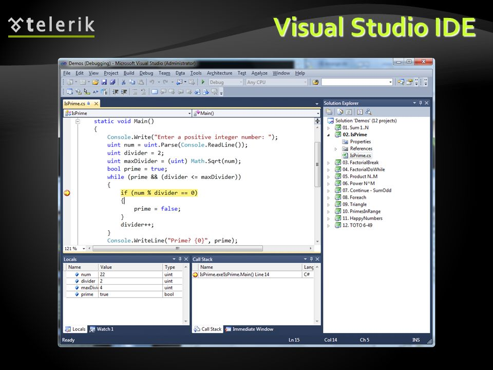 * 07/16/96. Visual Studio IDE.