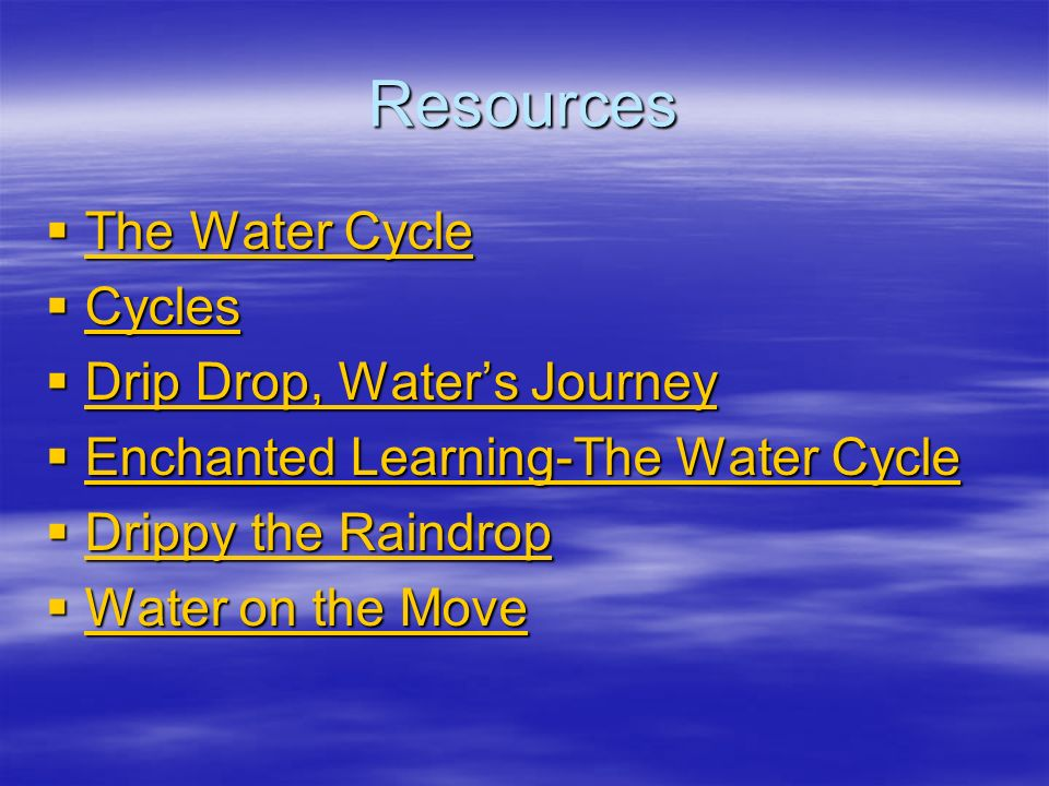 Resources The Water Cycle Cycles Drip Drop, Water's Journey