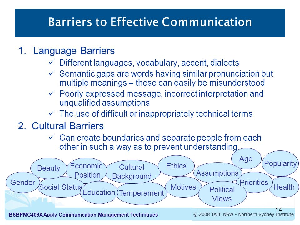 how to reduce barriers to effective Datis blog- 4 common communication barriers in the workplace tips on how to break down the most common communication barriers that exist in the workplace.
