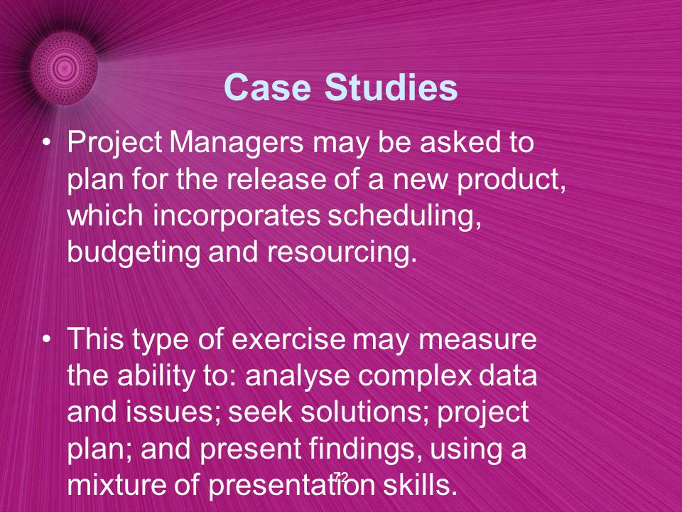 case studies for project managers Case studies we're proud of our customers' enterprise and project risk management case studies and the success they've achieved active risk helps to drive business performance by allowing our customers to take more risk.