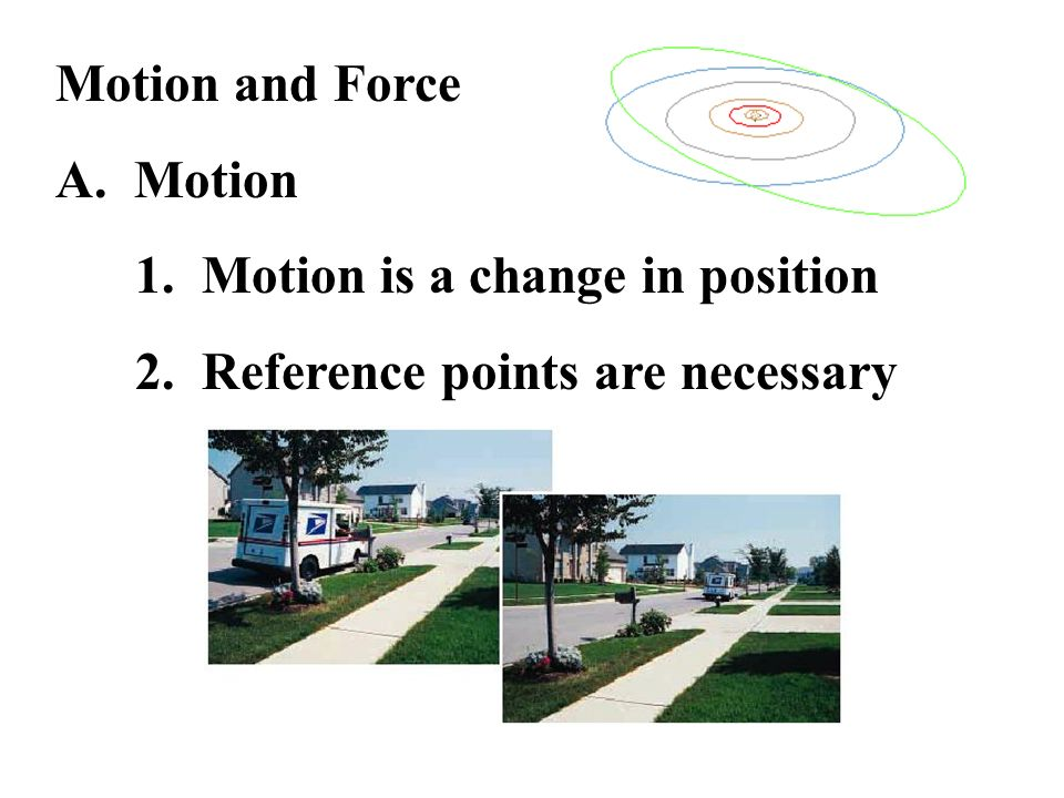 Motion and Force A. Motion 1. Motion is a change in position 2. Reference points are necessary