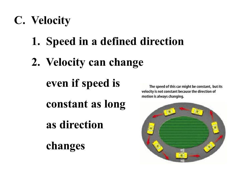 C. Velocity 1. Speed in a defined direction. 2. Velocity can change. even if speed is. constant as long.