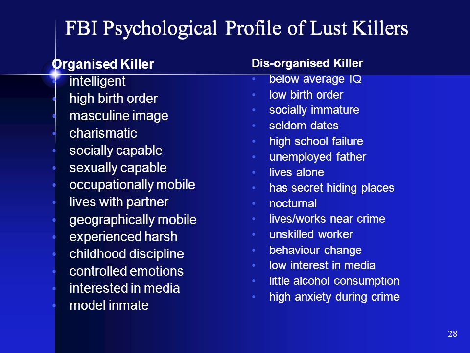 psychological profile of a killer Mind of a serial killer gary ridgway in the case of gary ridgway, he underwent a psychological profile done my john douglas of the fbi in the psychological.