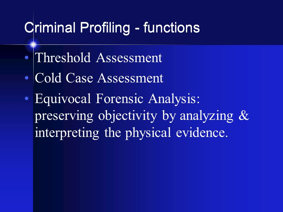 how to use criminal profiling