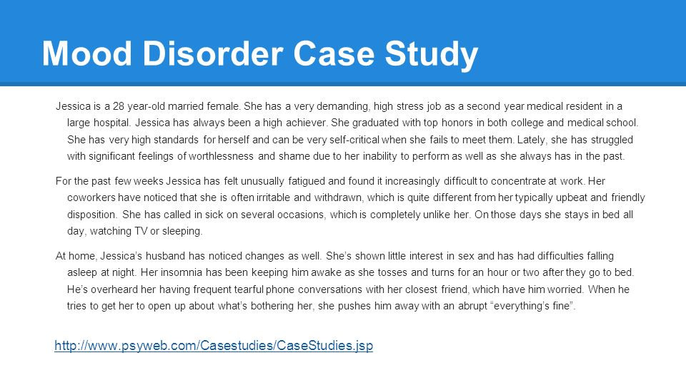 insomnia case study Patients with insomnia may experience one or more of the following problems:   in other cases, sleep disturbance is the major or sole complaint and  but  controlled studies of long-term treatment have not been conducted.