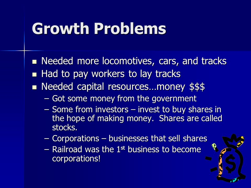 Growth Problems Needed more locomotives, cars, and tracks
