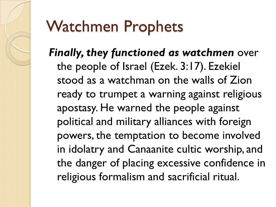 prologue to the prophets ppt watchmen prophets