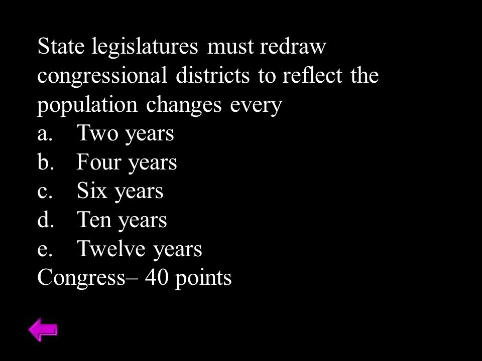 State legislatures must redraw congressional districts to reflect the population changes every