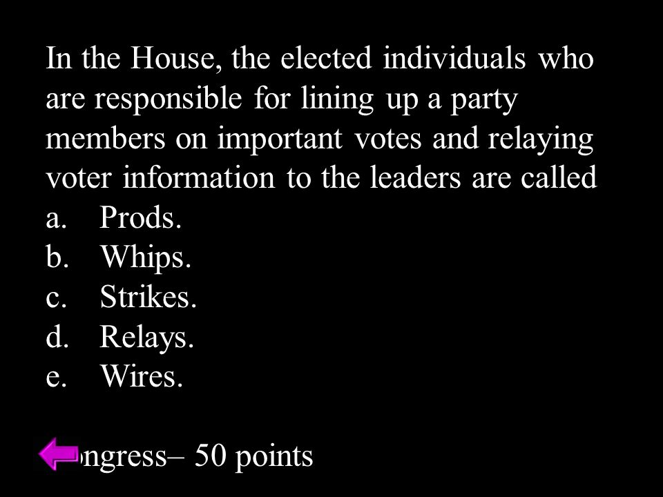 In the House, the elected individuals who are responsible for lining up a party members on important votes and relaying voter information to the leaders are called