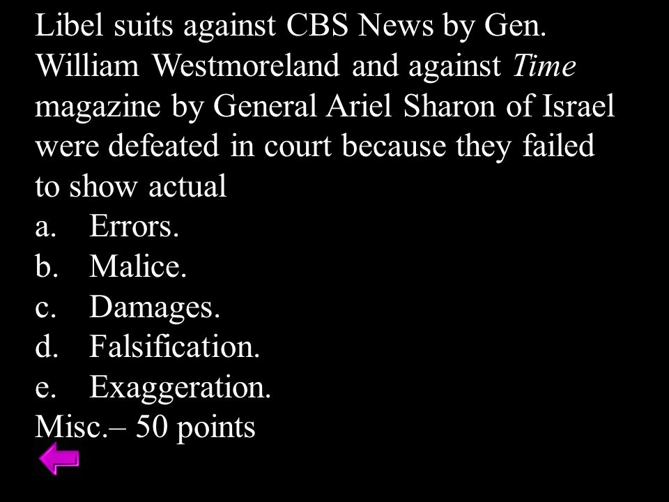 Libel suits against CBS News by Gen